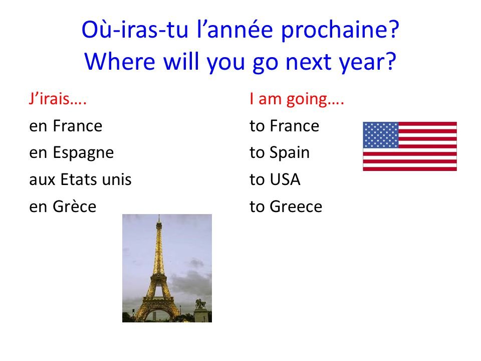 Pourquoi tu veux aller en…...Why do you want to go to…..