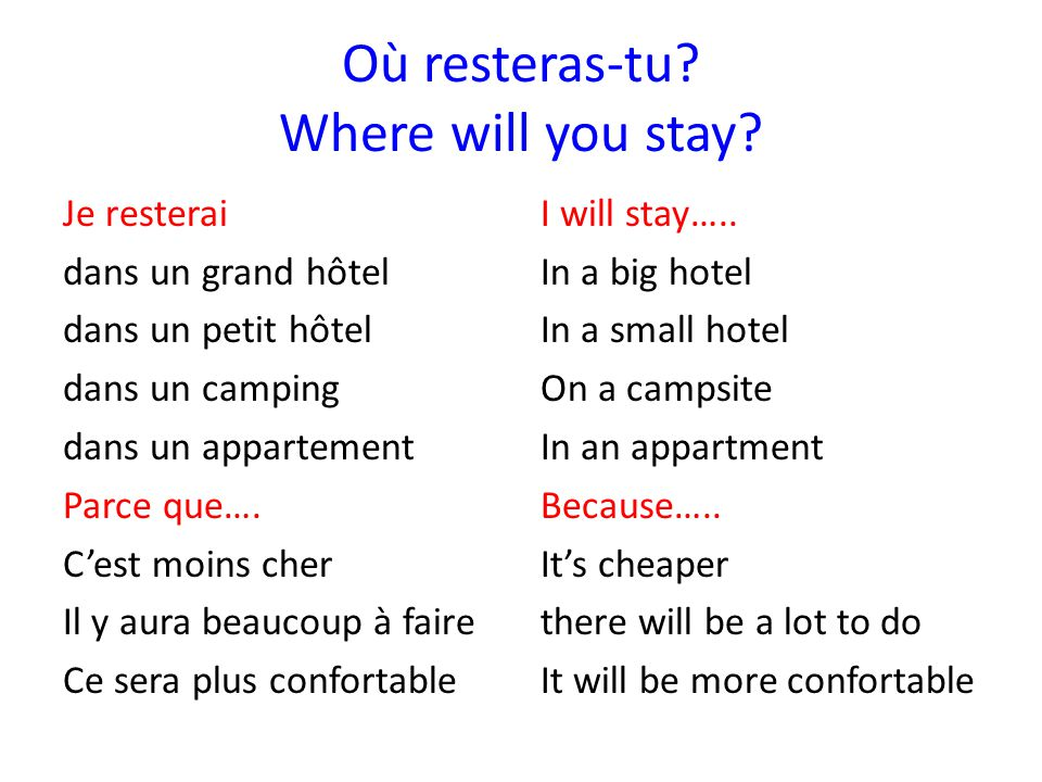 Où resteras-tu.Where will you stay.