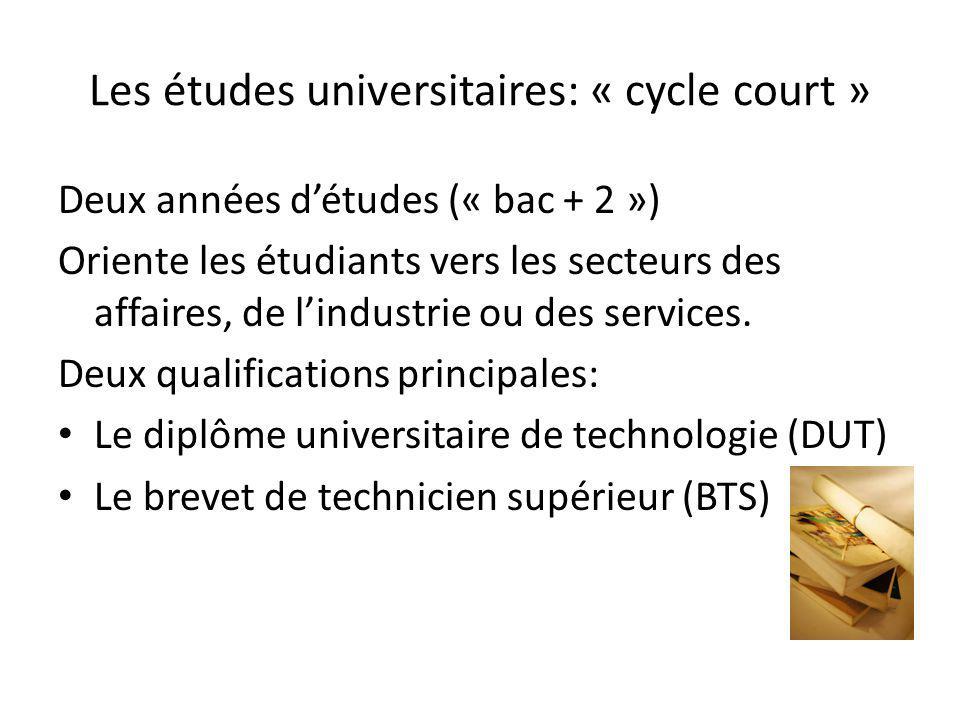 Les études universitaires: « cycle court » Deux années détudes (« bac + 2 ») Oriente les étudiants vers les secteurs des affaires, de lindustrie ou de