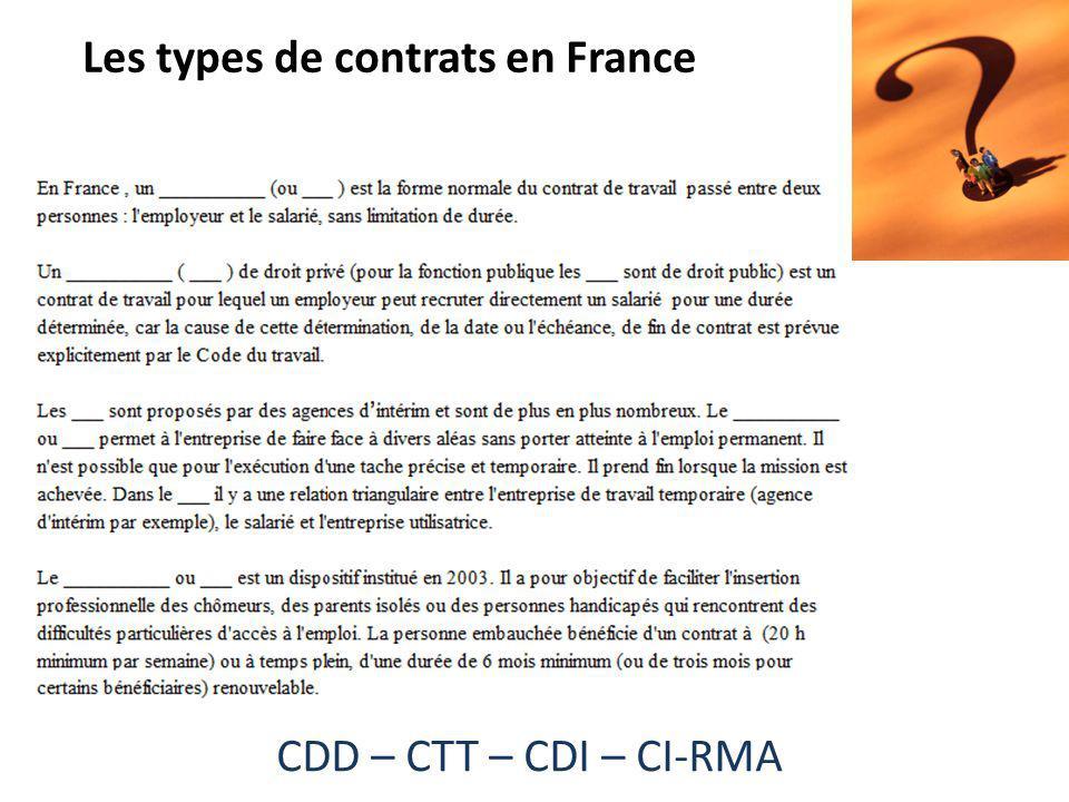 CDD – CTT – CDI – CI-RMA Les types de contrats en France