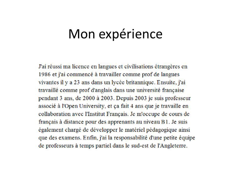 Mon expérience