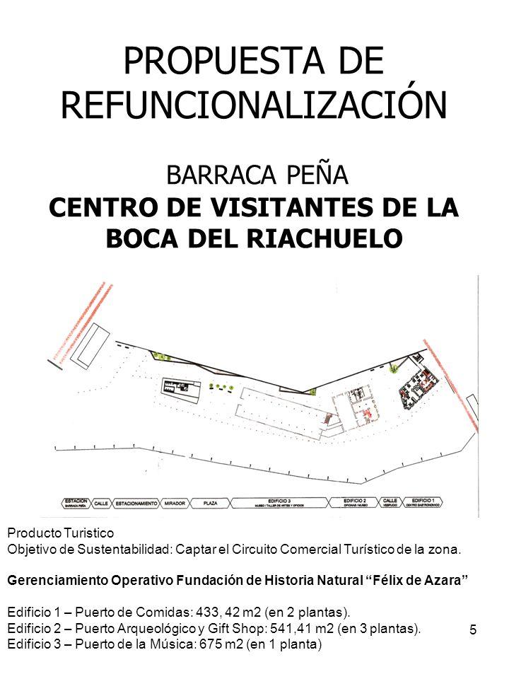 5 PROPUESTA DE REFUNCIONALIZACIÓN BARRACA PEÑA CENTRO DE VISITANTES DE LA BOCA DEL RIACHUELO Producto Turistico Objetivo de Sustentabilidad: Captar el