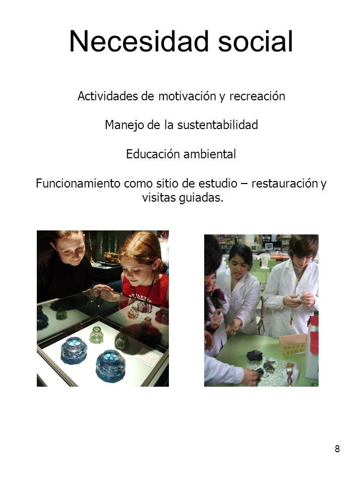 8 Necesidad social Actividades de motivación y recreación Manejo de la sustentabilidad Educación ambiental Funcionamiento como sitio de estudio – rest