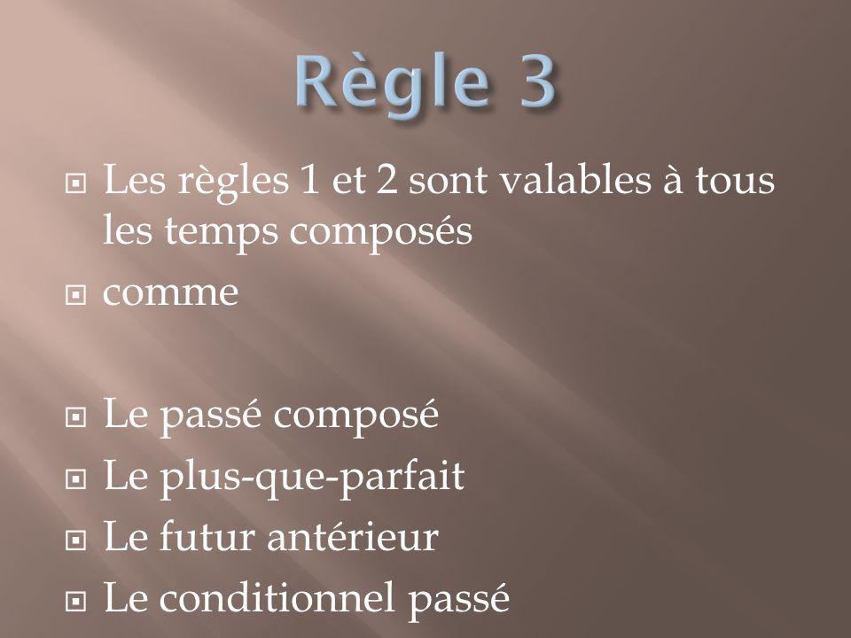 Les règles 1 et 2 sont valables à tous les temps composés comme Le passé composé Le plus-que-parfait Le futur antérieur Le conditionnel passé
