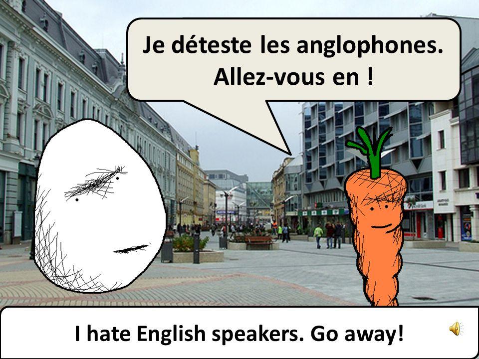 Je déteste les anglophones. Allez-vous en ! I hate English speakers. Go away!