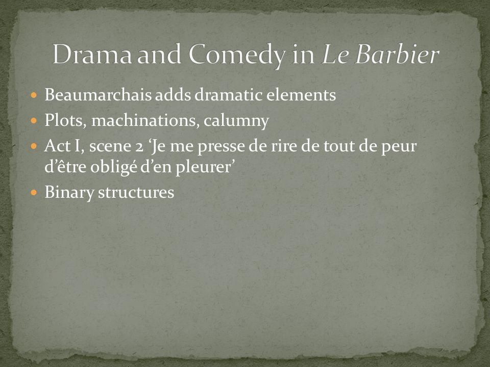 Beaumarchais adds dramatic elements Plots, machinations, calumny Act I, scene 2 Je me presse de rire de tout de peur dêtre obligé den pleurer Binary s