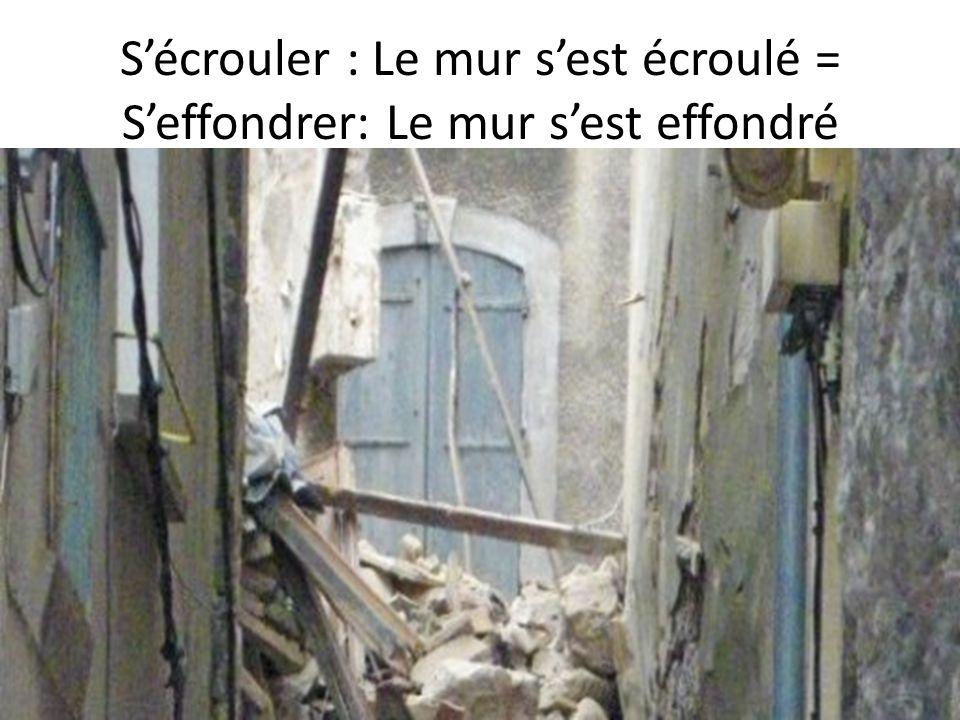 Sécrouler : Le mur sest écroulé = Seffondrer: Le mur sest effondré