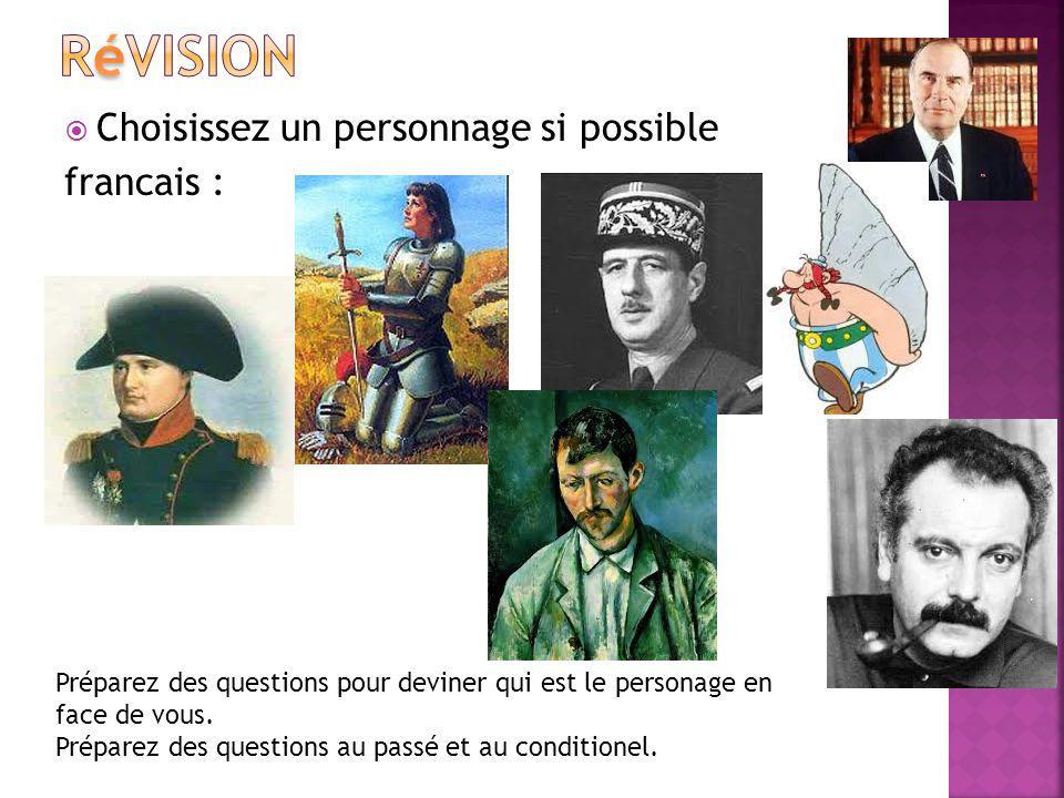 Choisissez un personnage si possible francais : Préparez des questions pour deviner qui est le personage en face de vous. Préparez des questions au pa