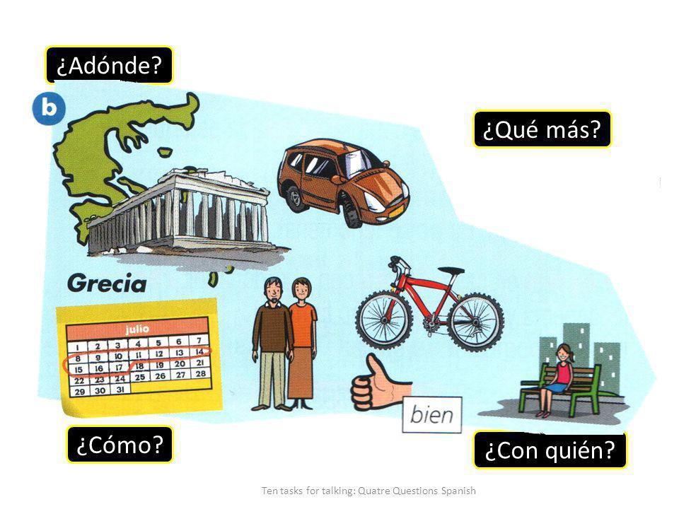 ¿Adónde ¿Cómo ¿Con quién ¿Qué más Ten tasks for talking: Quatre Questions Spanish