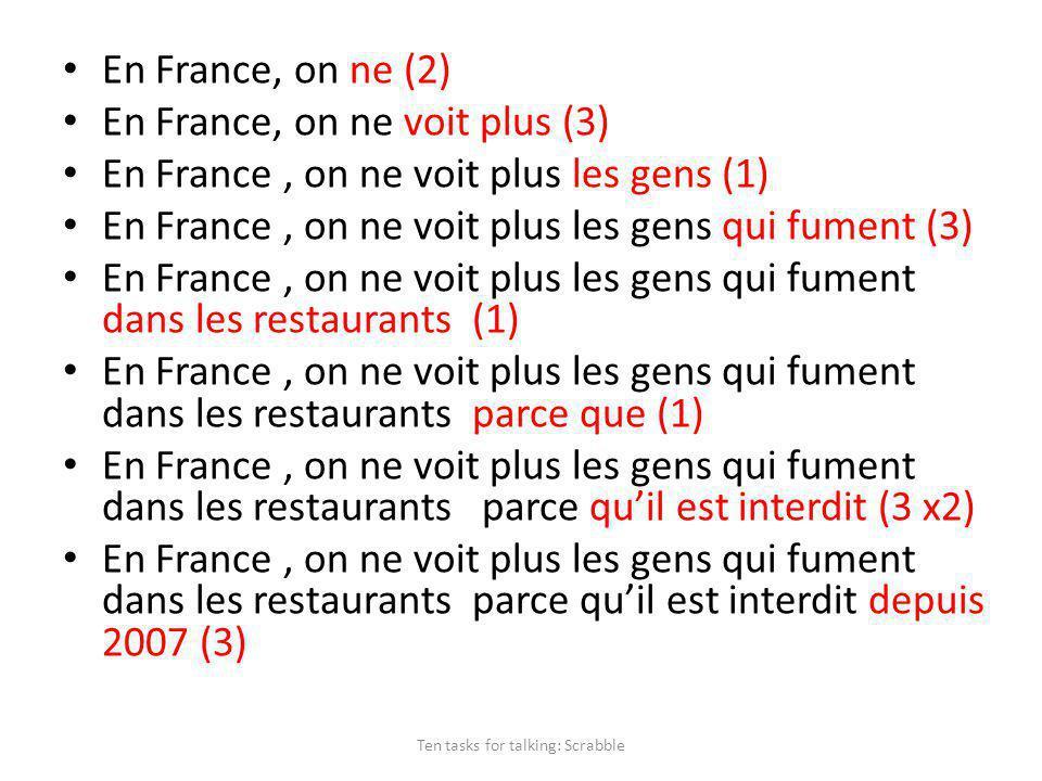 En France, on ne (2) En France, on ne voit plus (3) En France, on ne voit plus les gens (1) En France, on ne voit plus les gens qui fument (3) En France, on ne voit plus les gens qui fument dans les restaurants (1) En France, on ne voit plus les gens qui fument dans les restaurants parce que (1) En France, on ne voit plus les gens qui fument dans les restaurants parce quil est interdit (3 x2) En France, on ne voit plus les gens qui fument dans les restaurants parce quil est interdit depuis 2007 (3) Ten tasks for talking: Scrabble
