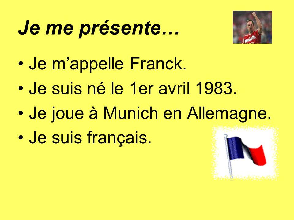 Je me présente… Je mappelle Franck. Je suis né le 1er avril 1983. Je joue à Munich en Allemagne. Je suis français.