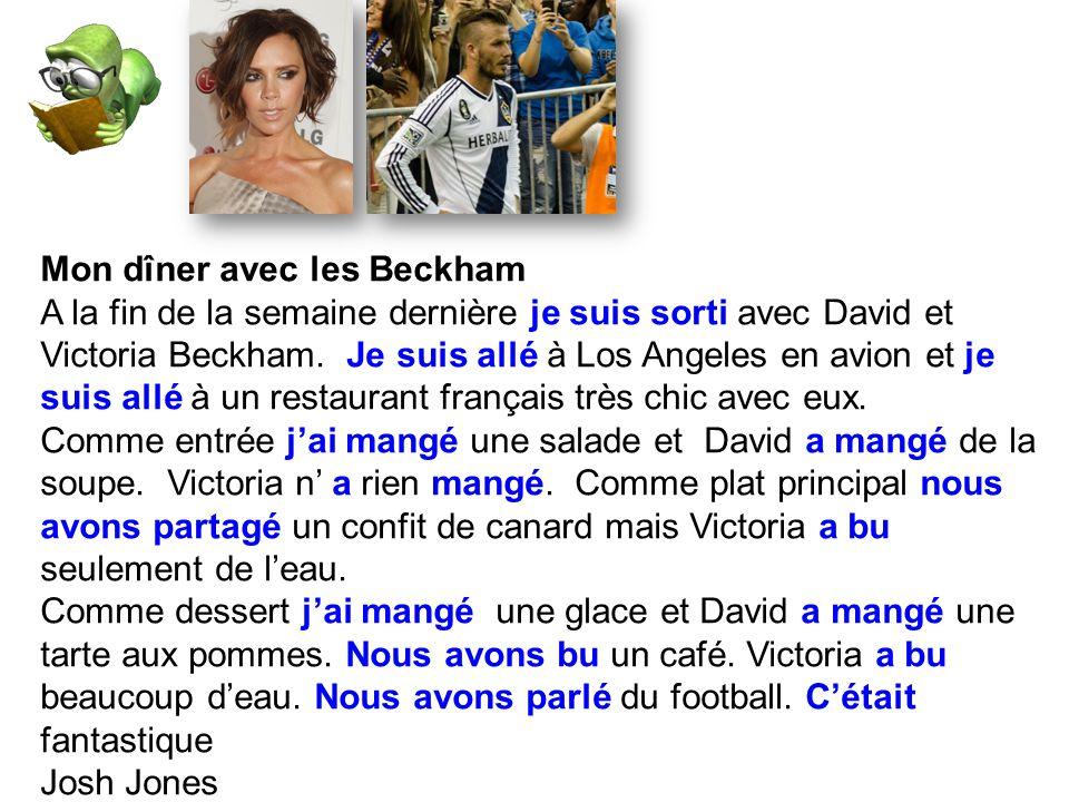 Mon dîner avec les Beckham A la fin de la semaine dernière je suis sorti avec David et Victoria Beckham.