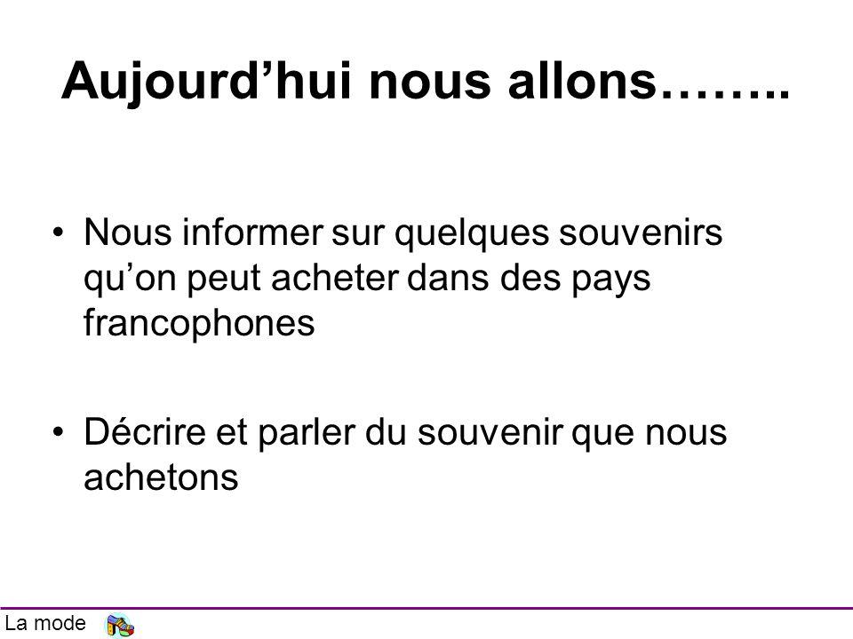 Aujourdhui nous allons…….. Nous informer sur quelques souvenirs quon peut acheter dans des pays francophones Décrire et parler du souvenir que nous ac