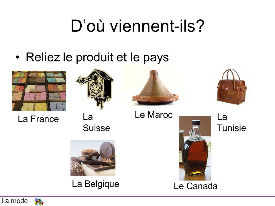 Doù viennent-ils? Reliez le produit et le pays La France La Suisse Le Maroc La Tunisie La Belgique Le Canada La mode