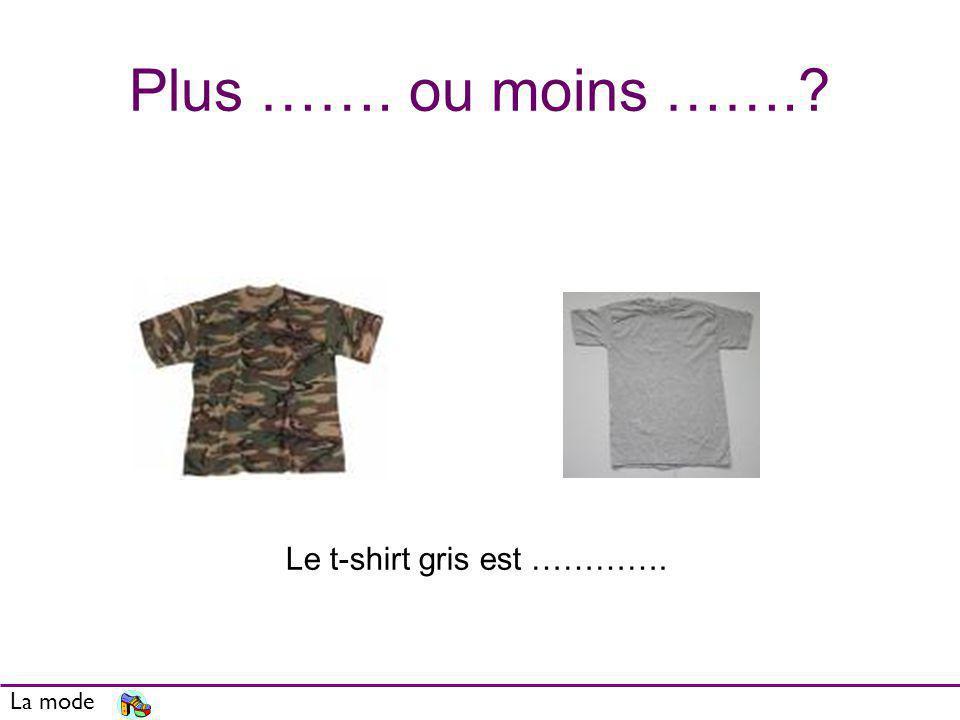 Plus ……. ou moins …….? La mode Le t-shirt gris est ………….