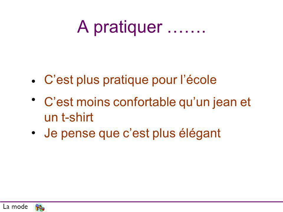 A pratiquer ……. La mode Its more practical for school Its less comfortable than jeans and a T- shirt I think its smarter Cest plus pratique pour lécol