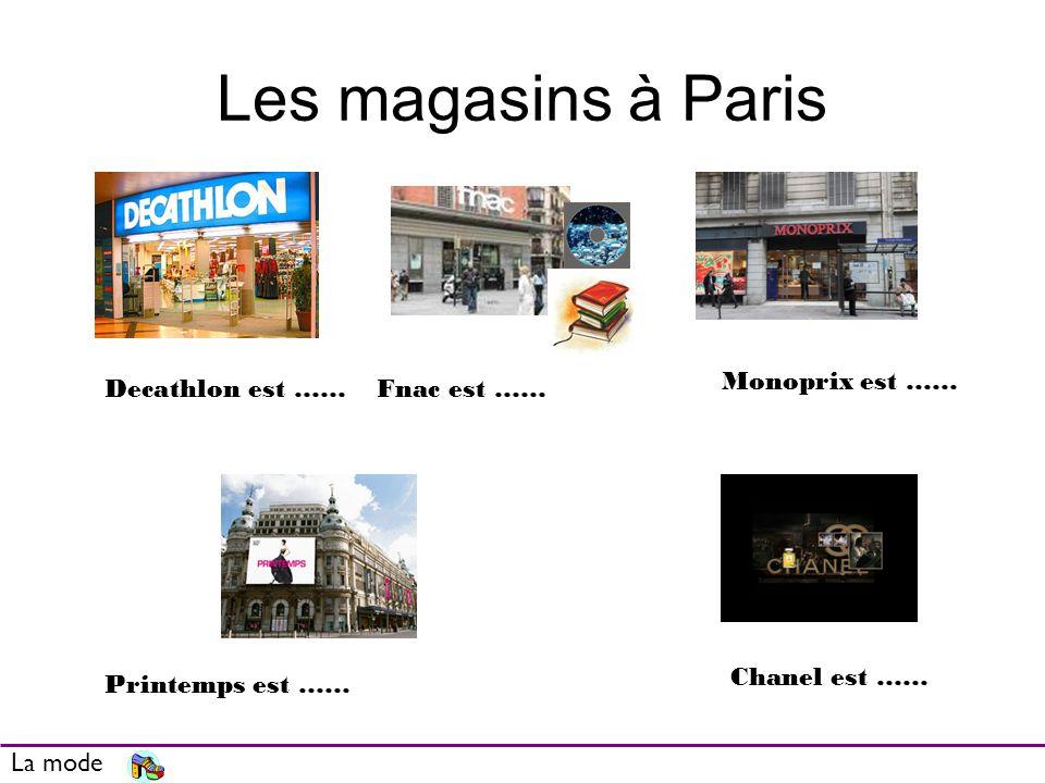 Les magasins à Paris La mode Decathlon est ……Fnac est …… Monoprix est …… Printemps est …… Chanel est ……