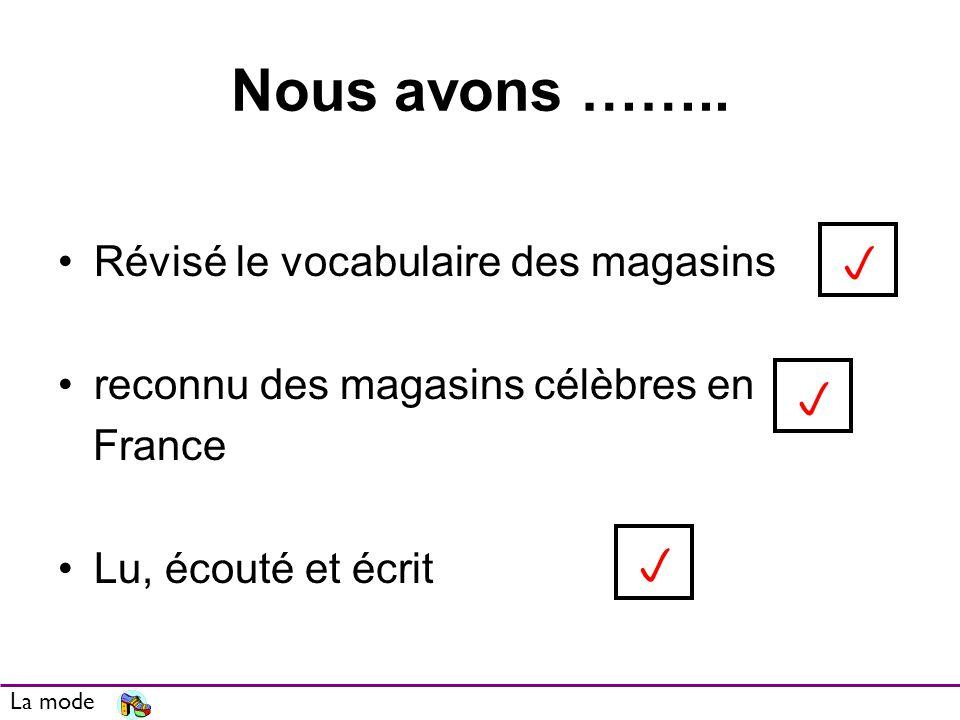 Nous avons …….. Révisé le vocabulaire des magasins reconnu des magasins célèbres en France Lu, écouté et écrit La mode