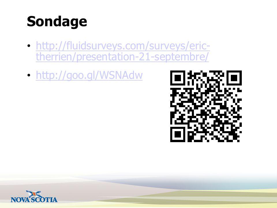 Sondage http://fluidsurveys.com/surveys/eric- therrien/presentation-21-septembre/ http://fluidsurveys.com/surveys/eric- therrien/presentation-21-septe