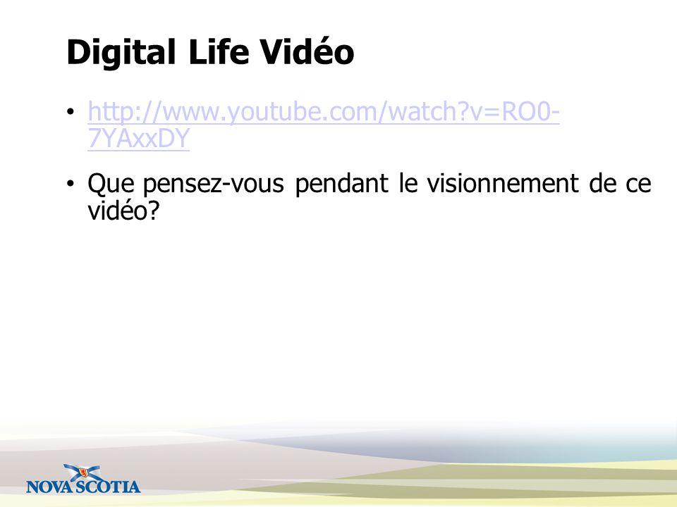Digital Life Vidéo http://www.youtube.com/watch?v=RO0- 7YAxxDY http://www.youtube.com/watch?v=RO0- 7YAxxDY Que pensez-vous pendant le visionnement de