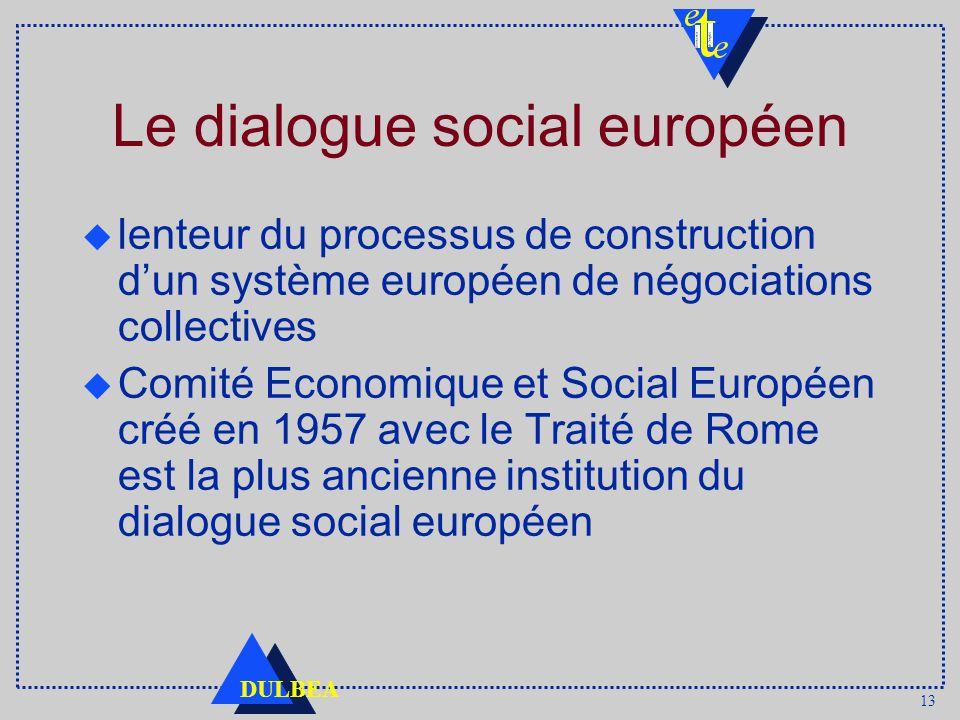 13 DULBEA Le dialogue social européen lenteur du processus de construction dun système européen de négociations collectives u Comité Economique et Social Européen créé en 1957 avec le Traité de Rome est la plus ancienne institution du dialogue social européen