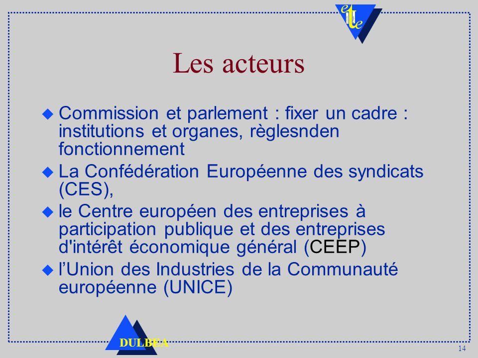 14 DULBEA Les acteurs u Commission et parlement : fixer un cadre : institutions et organes, règlesnden fonctionnement u La Confédération Européenne des syndicats (CES), u le Centre européen des entreprises à participation publique et des entreprises d intérêt économique général (CEEP) u lUnion des Industries de la Communauté européenne (UNICE)