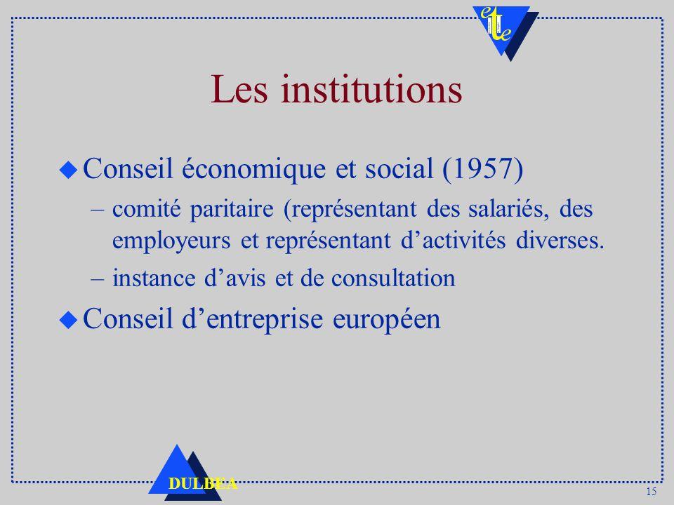 15 DULBEA Les institutions u Conseil économique et social (1957) –comité paritaire (représentant des salariés, des employeurs et représentant dactivités diverses.