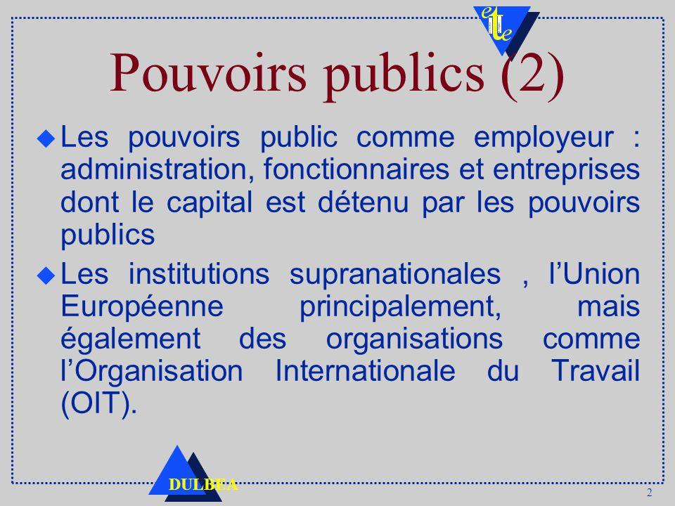 2 DULBEA Pouvoirs publics (2) u Les pouvoirs public comme employeur : administration, fonctionnaires et entreprises dont le capital est détenu par les pouvoirs publics u Les institutions supranationales, lUnion Européenne principalement, mais également des organisations comme lOrganisation Internationale du Travail (OIT).