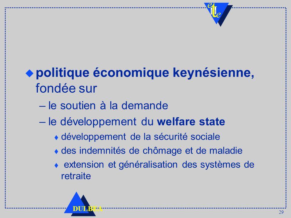 29 DULBEA u politique économique keynésienne, fondée sur –le soutien à la demande –le développement du welfare state t développement de la sécurité sociale t des indemnités de chômage et de maladie t extension et généralisation des systèmes de retraite