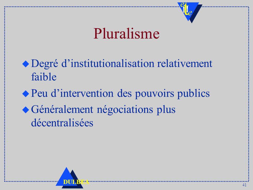 41 DULBEA Pluralisme u Degré dinstitutionalisation relativement faible u Peu dintervention des pouvoirs publics u Généralement négociations plus décentralisées
