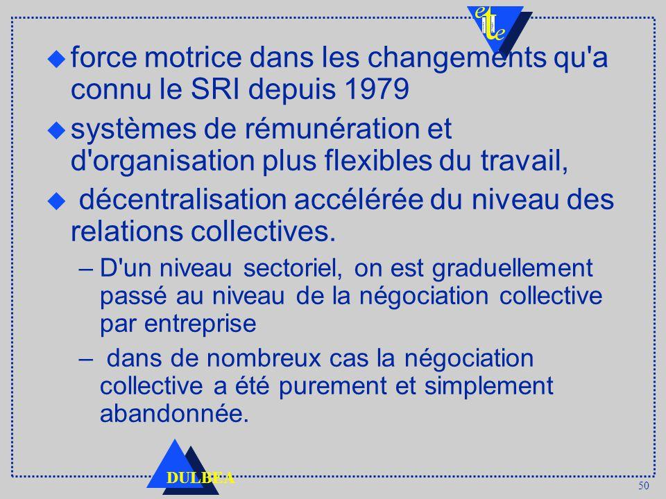 50 DULBEA u force motrice dans les changements qu a connu le SRI depuis 1979 u systèmes de rémunération et d organisation plus flexibles du travail, u décentralisation accélérée du niveau des relations collectives.