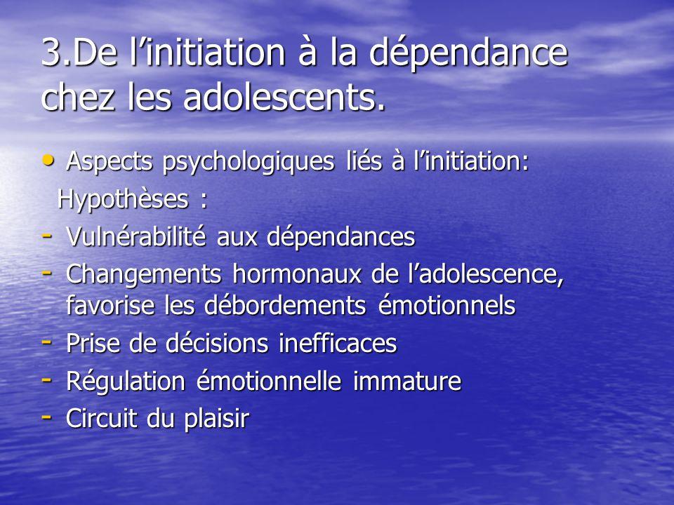 3.De linitiation à la dépendance chez les adolescents. Aspects psychologiques liés à linitiation: Aspects psychologiques liés à linitiation: Hypothèse