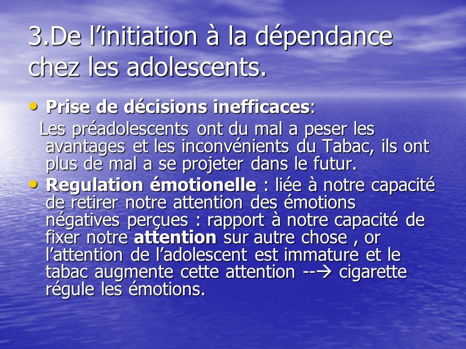 3.De linitiation à la dépendance chez les adolescents. Prise de décisions inefficaces: Prise de décisions inefficaces: Les préadolescents ont du mal a