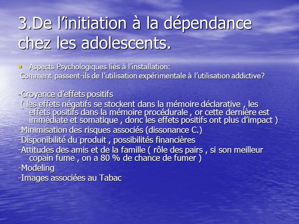 3.De linitiation à la dépendance chez les adolescents. Aspects Psychologiques liés à linstallation: Aspects Psychologiques liés à linstallation: Comme
