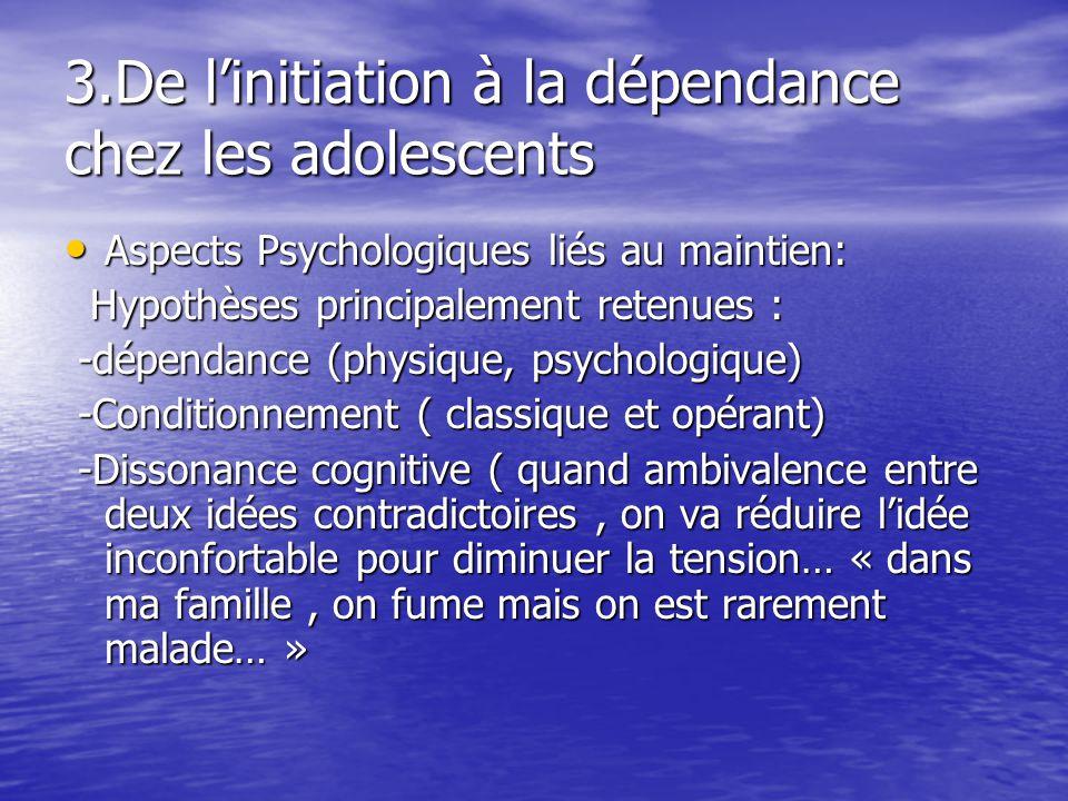 3.De linitiation à la dépendance chez les adolescents Aspects Psychologiques liés au maintien: Aspects Psychologiques liés au maintien: Hypothèses pri