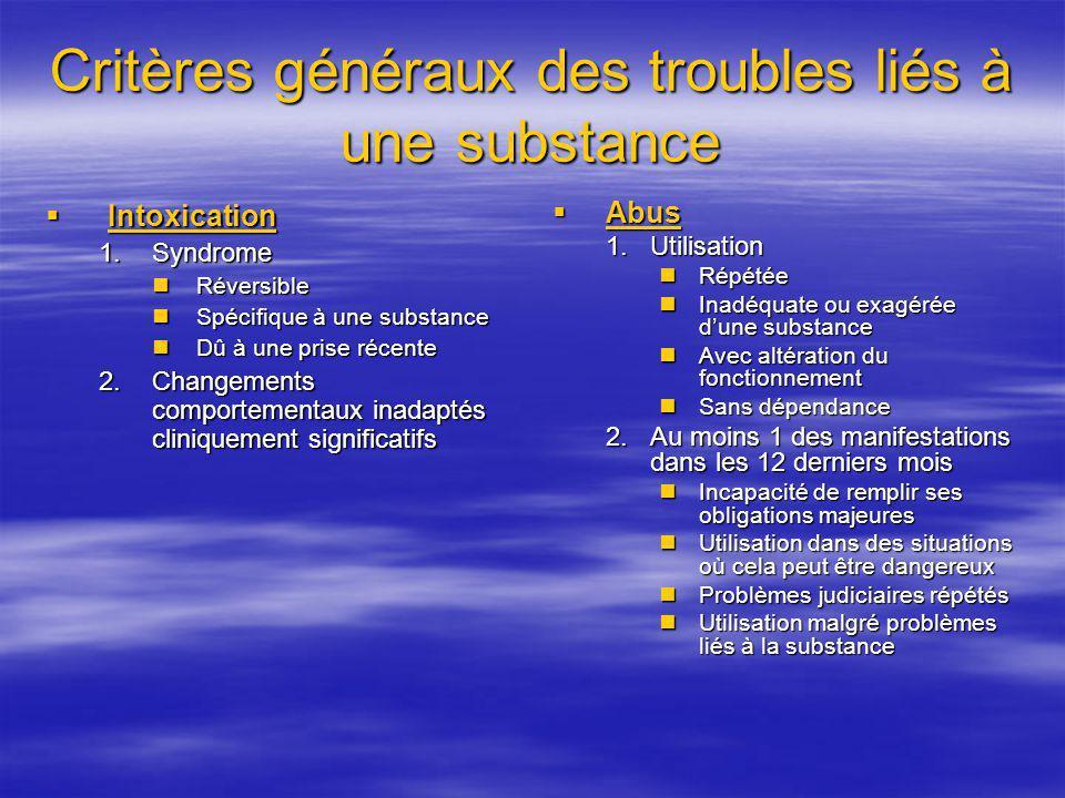 Critères généraux des troubles liés à une substance Intoxication Intoxication 1.Syndrome Réversible Réversible Spécifique à une substance Spécifique à