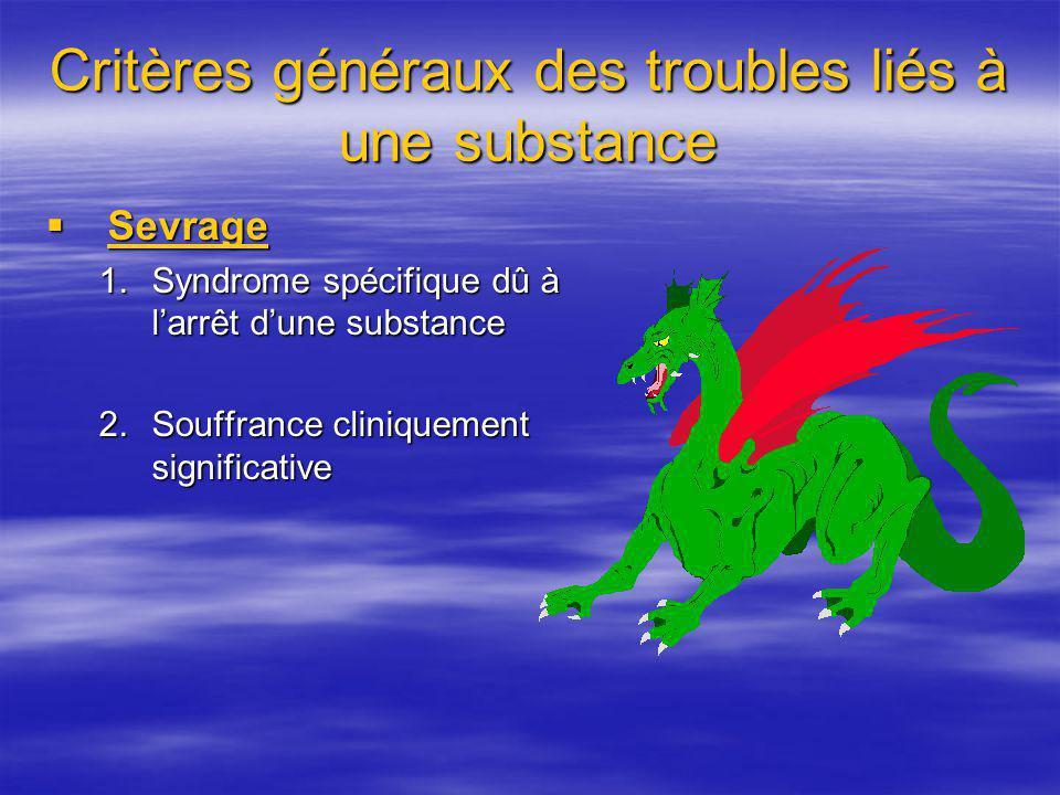 Critères généraux des troubles liés à une substance Sevrage Sevrage 1.Syndrome spécifique dû à larrêt dune substance 2.Souffrance cliniquement signifi