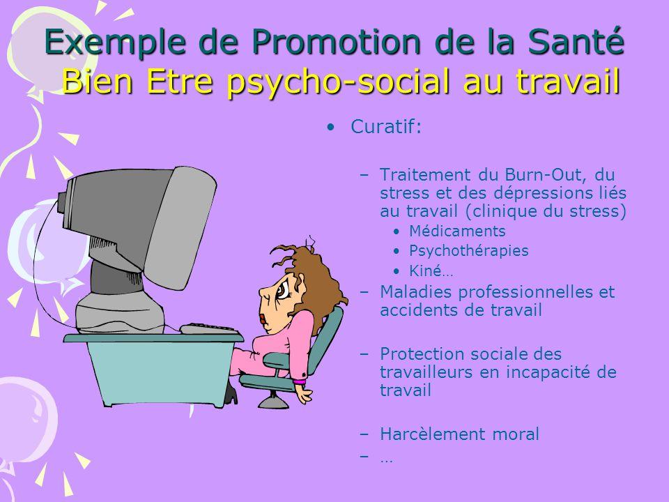 Exemple de Promotion de la Santé Bien Etre psycho-social au travail Curatif: –Traitement du Burn-Out, du stress et des dépressions liés au travail (cl