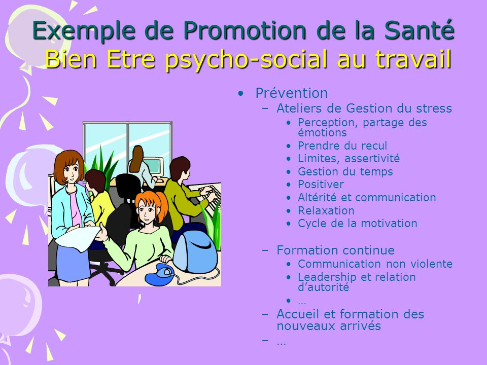 Exemple de Promotion de la Santé Bien Etre psycho-social au travail Prévention –Ateliers de Gestion du stress Perception, partage des émotions Prendre