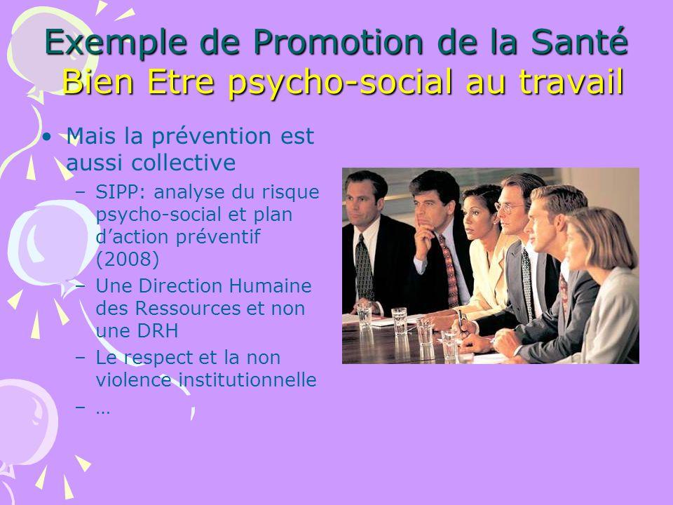 Exemple de Promotion de la Santé Bien Etre psycho-social au travail Mais la prévention est aussi collective –SIPP: analyse du risque psycho-social et