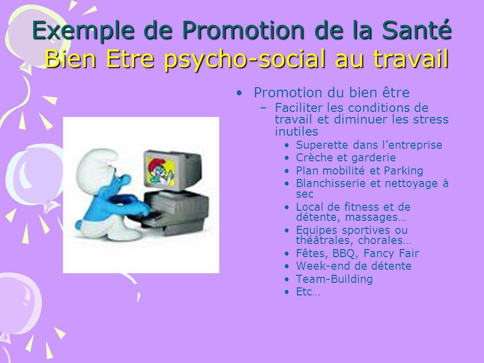 Exemple de Promotion de la Santé Bien Etre psycho-social au travail Promotion du bien être –Faciliter les conditions de travail et diminuer les stress