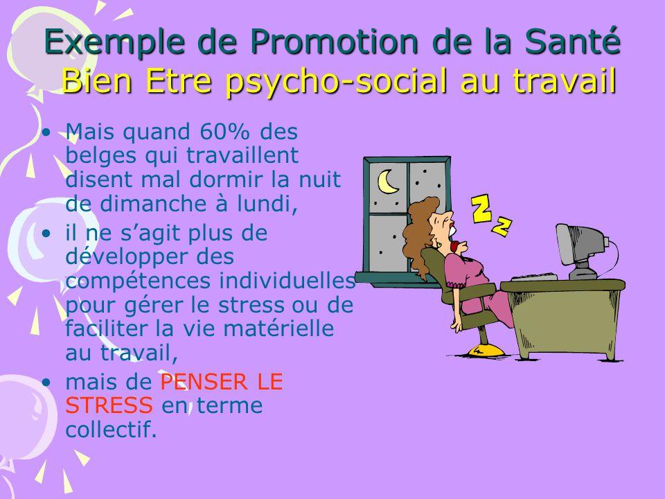 Exemple de Promotion de la Santé Bien Etre psycho-social au travail Mais quand 60% des belges qui travaillent disent mal dormir la nuit de dimanche à