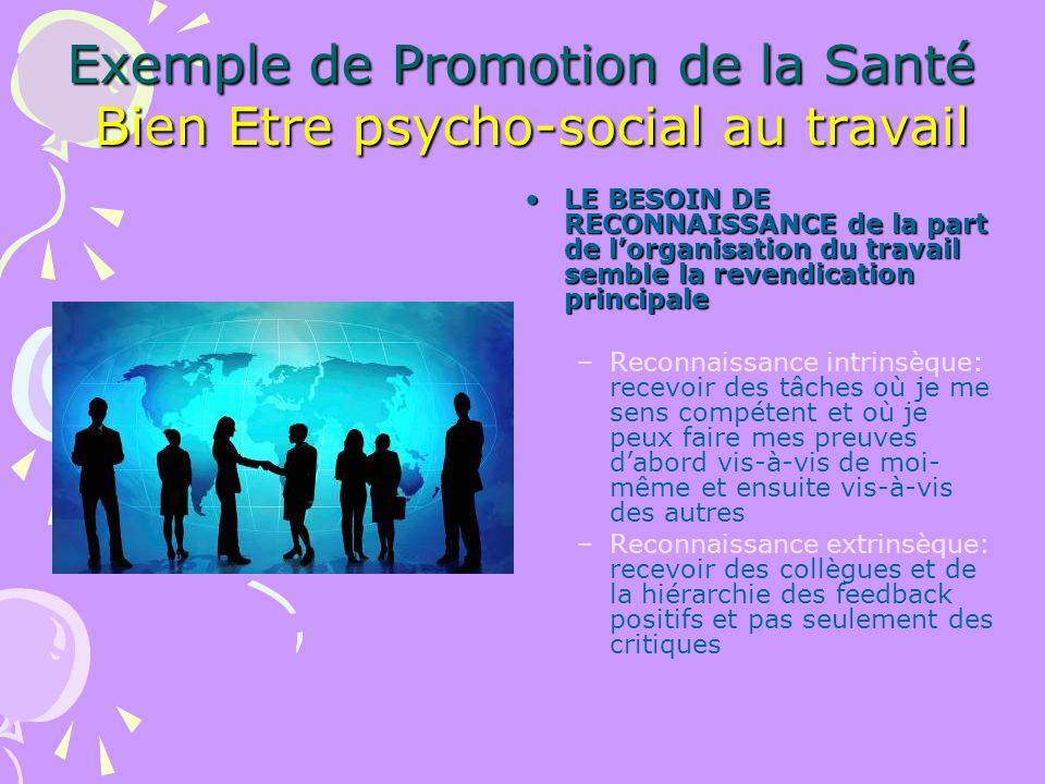 Exemple de Promotion de la Santé Bien Etre psycho-social au travail LE BESOIN DE RECONNAISSANCE de la part de lorganisation du travail semble la reven