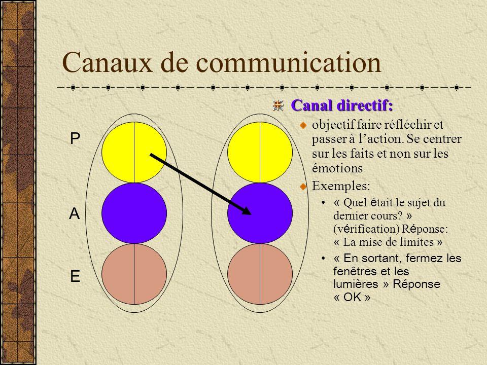 Canaux de communication Canal directif: objectif faire réfléchir et passer à laction. Se centrer sur les faits et non sur les émotions Exemples: « Que