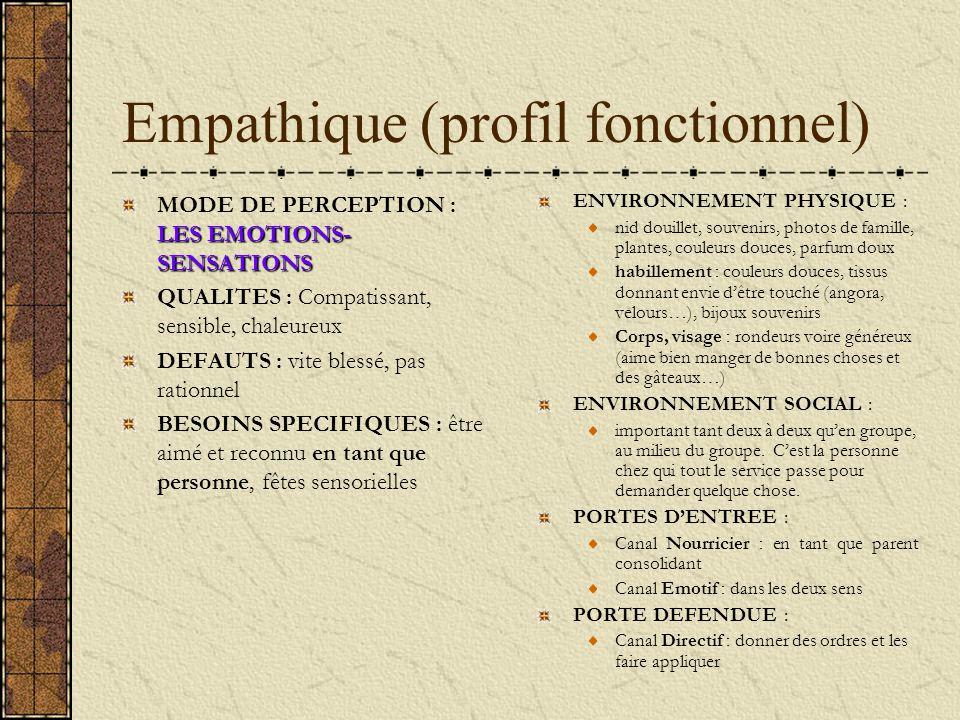 Empathique (profil fonctionnel) LES EMOTIONS- SENSATIONS MODE DE PERCEPTION : LES EMOTIONS- SENSATIONS QUALITES : Compatissant, sensible, chaleureux D