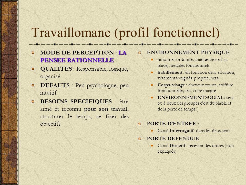 Travaillomane (profil fonctionnel) LA PENSEE RATIONNELLE MODE DE PERCEPTION : LA PENSEE RATIONNELLE QUALITES : Responsable, logique, organisé DEFAUTS