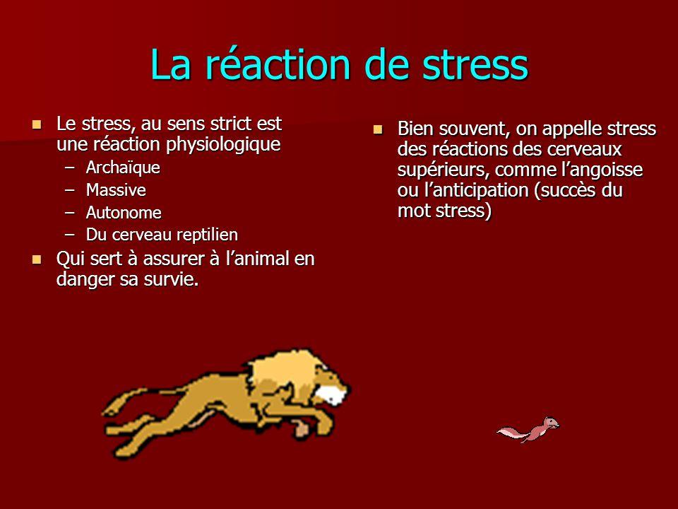 La réaction de stress Le stress, au sens strict est une réaction physiologique Le stress, au sens strict est une réaction physiologique –Archaïque –Ma