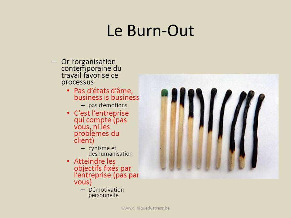 Le Burn-Out – Or lorganisation contemporaine du travail favorise ce processus Pas détats dâme, business is business – pas démotions Cest lentreprise q