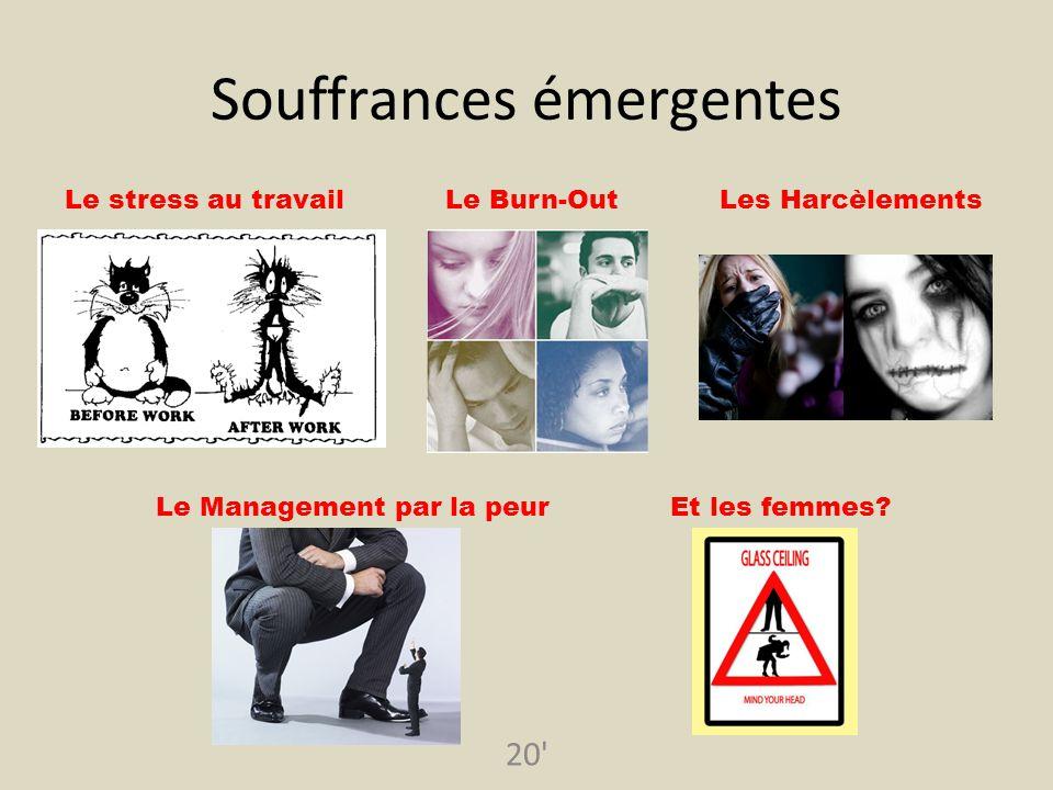20' Souffrances émergentes Le stress au travailLe Burn-OutLes Harcèlements Le Management par la peurEt les femmes?
