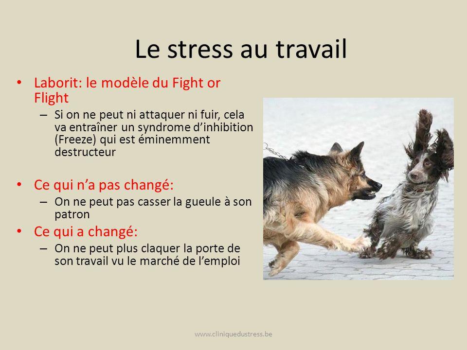 www.cliniquedustress.be Le stress au travail Laborit: le modèle du Fight or Flight – Si on ne peut ni attaquer ni fuir, cela va entraîner un syndrome